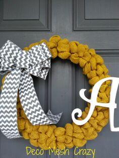 Burlap Wreath with Inital- www.facebook.com/decomeshcrazy www.decomeshcrazy.com