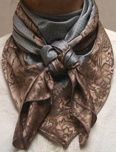 Cowboy Images Combo Scarf - Accessories of Women Ways To Tie Scarves, Ways To Wear A Scarf, How To Wear Scarves, Square Scarf How To Wear A, Square Scarf Tying, Cowboy Images, Scarf Knots, Mode Outfits, Neck Scarves