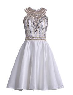 PromMe 2017 Scoop Beaded Bodice Homecoming Dresses A Line Satin * Check this awesome product by going to the link at the image. (This is an affiliate link and I receive a commission for the sales)