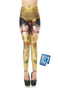 The Kiss Gustav Klimt Printed Tights-Gustav Klimt The Kiss klimt Leggings-Spandex TIght-Yoga Leggings-Sock-Custom Clothing-Women Tight-K039 on Etsy, $9.90
