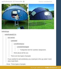 Trampoline tent-three types of people