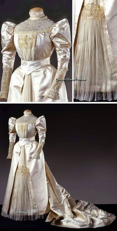 Wedding dress, Maison Rechiantone, Turin, ca. 1898. Ivory satin trimmed with chiffon, embroidered tulle, & embroidery of faux pearls and gold metal. Pleated chiffon underskirt. Bodice & skirt lined in ivory silk. Galleria del Costume di Palazzo Pitti via Europeana Fashion