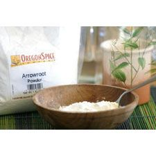 Arrowroot is a white powder extracted from the root of a West Indian plant, Marantha arundinacea. It looks and feels like cornstarch, and is an excellent thickening agent for cooking and baking. It thickens at a lower temperature than flour or cornstarch and 1 teaspoon of arrowroot can be substituted for 1 tablespoon of flour.