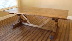 8 ft. trestle style farm table in Provincial built for Lori!