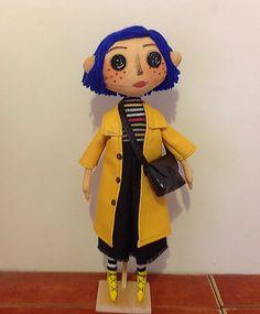 coralline movie doll button eyes doll textile by NatashaArtDolls