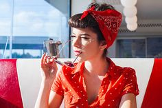 Portrait of handsome rockabilly girl in retro outfit form by Audrey Shtecinjo - Stocksy United Rockabilly Pin Up, Rockabilly Fashion, 1950s Fashion, Pin Up Outfits, Retro Outfits, Pin Up Style, My Style, Vintage Cafe, Aesthetic Fashion