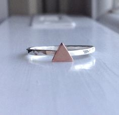 Copper Triangle Ring Triangle Stacking Ring by GirlBurkeStudios, $20.00