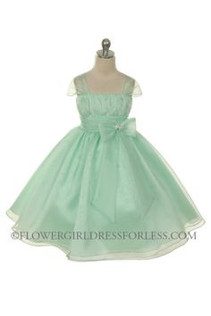 MB_286MT - Flower Girl Dress Style 286- Mint Organza Cap Sleeve Dress with Rhinestone Accent - Green - Flower Girl Dress For Less