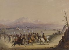Trained in Paris and Rome, Baltimore artist Alfred Jacob Miller attended the 1837 fur-trade rendezvous in what's now western Wyoming. Miller sketched and painted all aspects of the fur trade for his patron, the Scottish adventurer William Drummond S Native American Hunting, Native American Indians, Jacob Miller, Canvas Artwork, Canvas Prints, Mountain Man, Artist Names, Wild West, American Artists