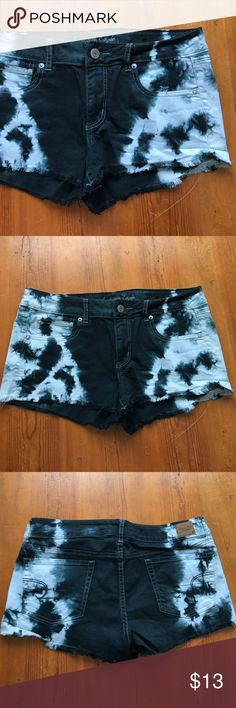 AE Black Tye-Dye Denim shorts Black and white the-dye look throughout. Used once. American Eagle Outfitters Shorts