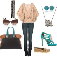 Nude shirt with lace and cool teal and brown accessories