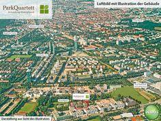 Luftbild - ParkQuartett #ParkQuartett #Illustration #Visualisierung #Architektur #Neubau #Neubauprojekt #Eigentumswohnungen #Wohnen #Schwabing #München #Luftbild