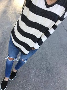#winter #outfits striped sweater, ripped jeans, slip on shoes