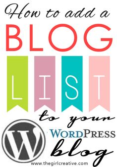 How to add a blog list to your wordpress blog! #infographic #BlogTips #Blogging #WordPress