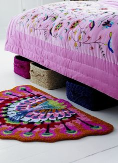 Heavily Embroidered Blanket in Soft Pink Velvet and Peacock Rug from Rice