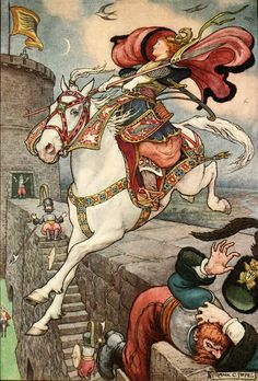'She put her good steed to the walls and leapt lightly over them.'  The Russian Story Book, 1916, Frank Cheyne Papé