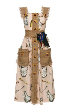 Dishware Printed Poplin Dress by Dolce & Gabbana Brown Party Dresses, Holiday Party Dresses, Dress Party, Uk Fashion, Fashion Details, Modern Fashion, Spring Fashion, Fashion Outfits, Poplin Dress