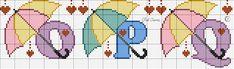 Pastel Umbrellas Alphabet Cross Stitch Pattern O P Q Cross Stitch Baby, Cross Stitch Alphabet, Cross Stitch Patterns, Crochet Letters, Letters And Numbers, Embroidery Designs, Kids Rugs, Pastel, Google