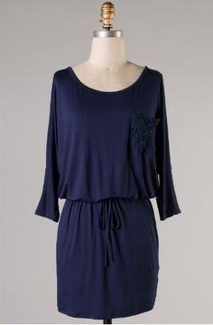 Navy Crochet Pocket Drawstring Sundress - shopthreelittlebirds