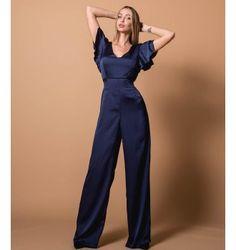 Σατέν Ολόσωμη Φόρμα με V - Μπλε-Navy Jumpsuit, Dresses, Fashion, Overalls, Vestidos, Moda, Monkeys, Fashion Styles, Jumpsuits