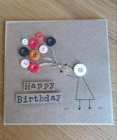 imagenes de feliz cumpleaños, tarjeta kraft de cumpleaños con botones, chica con balones figura estilizada