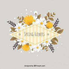 Flowers label in yellow tones Free Vector