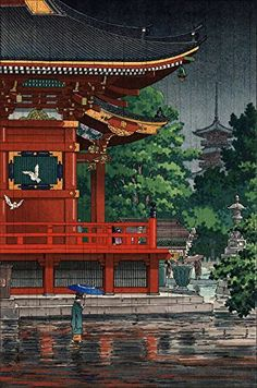 "Japanese Art Print ""Asakusa Kannondo Temple"" by Tsuchiya Koitsu. Shin Hanga and Art Reproductions http://www.amazon.com/dp/B00XV2BBBG/ref=cm_sw_r_pi_dp_H6.swb0SYCKFD"