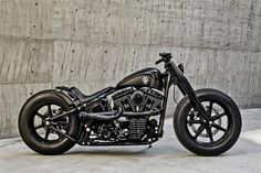 Remember the Iron Guerilla? one of our most popular posts on the awesome Harley Sportster Custom by Rough Crafts. The same guys have now joined forces with Roland Sands Design for this spectacular conversion based on a Harley-Davidson 2002 FLSTF So Harley Fatboy, Hd Fatboy, Harley Gear, Motos Harley Davidson, Harley Davidson Custom, Chopper Cruiser, Bobber Chopper, Softail Bobber, Custom Harleys