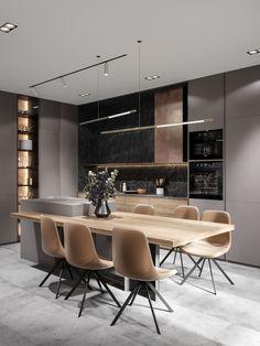 Kitchen Room Design, Kitchen Interior, Kitchen Ideas, Luxury Kitchen Design, Kitchen Furniture, Office Furniture, Kitchen Decor, Office Interior Design, Interior Design Living Room