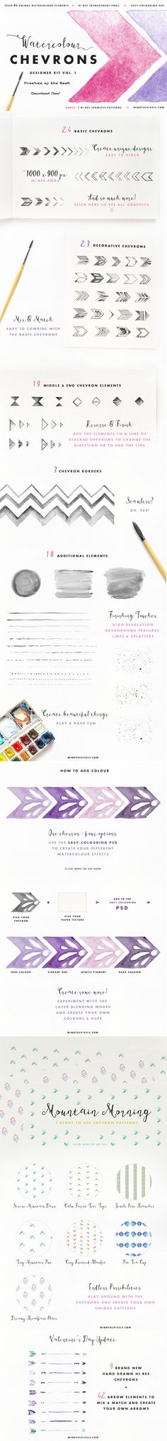 Here we go again with something brand new and perfectly splendid: #Watercolour #Chevrons! Use the chevrons on their own or combine them to create unique borders and patterns. Add splatters, add lines - make the most of the pack using the additional elements for finished look. The Watercolour Chevrons are perfect for invites, greeting cards, weddings, stationary, websites and so much more. #freebies of the week. #design #download
