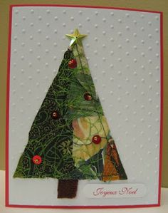Fabric collage Christmas cards