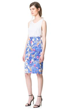 FLORAL PRINT PENCIL SKIRT from Zara