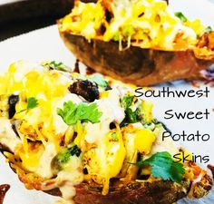 Southwest Sweet Potato Skins are stuffed full of chicken, avocado, corn, and beans with just a sprinkle of cheese and a southwest sauce. Sweet Potato Skins, Sweet Potato And Apple, Loaded Sweet Potato, Mexican Food Recipes, Healthy Recipes, Ethnic Recipes, Healthy Meals, Southwest Sauce, Pork Lettuce Wraps