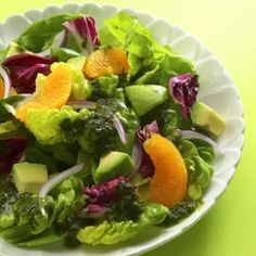Orange & Avocado Salad Recipe  INGREDIENTS  8 cups mixed salad greens  1 cup orange segments  1 avocado, diced  1/4 cup slivered red onion  1/2 cup Cilantro-Lime Vinaigrette