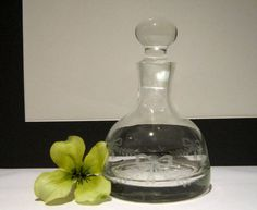 Etched Glass Decanter with Ribbon and Leaf Pattern via Etsy