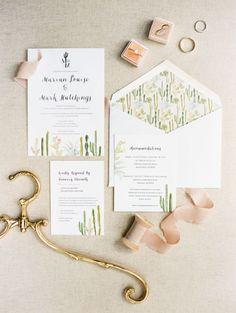 Blush desert wedding invitation suite: http://www.stylemepretty.com/2017/04/28/romantic-lush-arizona-wedding/ Photography: Rachel Solomon - http://rachel-solomon.com/