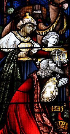Cropredy-257 St Mary  South-east window of south aisle. Adoration of the magi. Who is the maker?