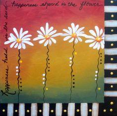 Happiness 10 x 10 Original acrylic painting on canvas. $28.00, via Etsy.  Darla Peterson