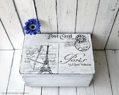 ~ Post Card from Paris ~  painted memory box; image transferred using waterslide decal paper.