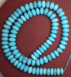 """Sleeping Beauty Turquoise Loose 9.5mm Rondelle  beads 18"""" std natural Blue #S45 #Erthart #Southwest"""