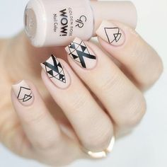 The post Negative Space Triangle Pattern Nail Art Design Stickers . # appeared first on nageldesign. Matte Nails, Diy Nails, Acrylic Nails, Nail Nail, Love Nails, Pretty Nails, Golden Nails, Tribal Nails, Nail Patterns