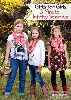 Perfect gift for girls: 3 minute infinity scarves! (Also makes a great beginner sewing project.)
