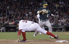 Baseball or Yoga? Boston Red Sox first baseman Adrian Gonzalez, left, keeps his toe on first as he fields the throw on a ground out by Oakland Athletics catcher Kurt Suzuki, right, during the fourth inning of a baseball game at Fenway Park in Boston, Monday, April 30, 2012. (AP Photo/Charles Krupa)