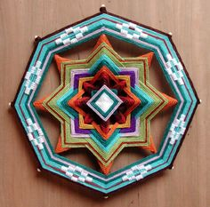 How to make your own 8 sided Ojo de Dios mandala -  think I'll just start with 2 sticks. @Mel Holliday