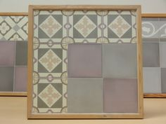 Handmade encaustic tiles, 15x15 cm format. 1560 New York / 1521 Purple / 1520 Light Grey. Brochure available.