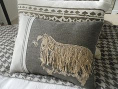 Hand printed exclusive applique curly coated sheep cushion