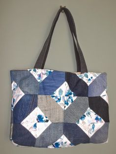 Bag from old jeans and curtain fabric