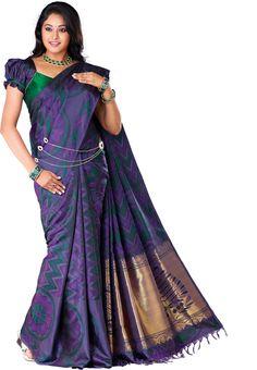 Pure Silk Fancy Saree Kanchipuram Silk Saree Dark Majanta Green Without Border without Jari