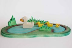 Reserved Listing For Amy - Duck Family And Pond Wooden Toy Set - Nature Table…