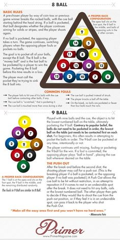 How to Play Pool (And Look Like You Know What You're Doing): An Animated Visual Guide Primer Pool Table Games, Pool Table Room, Bar Games, Billiards Bar, Billiard Room, Billard Snooker, Pool Table Accessories, Sport Pool, Pool Rules